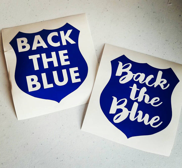 Back The Blue Vinyl Decal with Block or Cursive Writing.