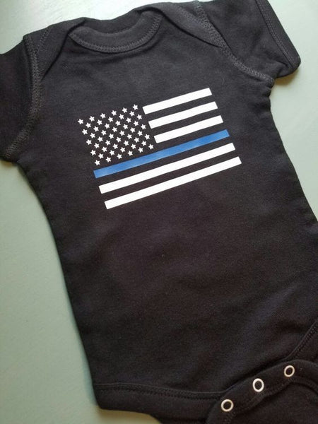 Thin Blue Line Police Flag Baby Onesie NB - 24 Mos.