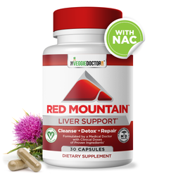 Red Mountain™ Liver Cleanse, Detox, Repair & Daily Support Supplement – Physician Formulated Detoxifier & Regenerator with Proven Ingredients - Milk Thistle (Silymarin), NAC, Dandelion Root. 30 Vegan Capsules