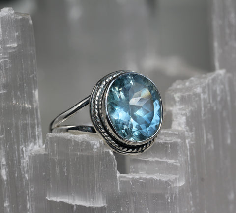 Blue Topaz Oval Silver Ring