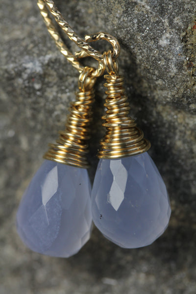 Chalcedony Briolette Diamond Cut Earrings