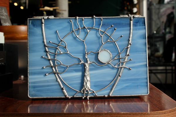 Tree of Life Sky Blue Stained Glass Box