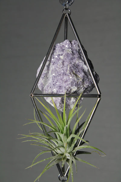 Lepidolite Stained Glass Sun Catcher with Air Plant