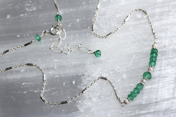 Colombian Emerald Bead Chain Necklace