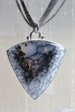 Arrowhead Dendritic Opal Leather Necklace