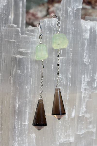 Smokey Quartz Prehnite Long Point Earrings