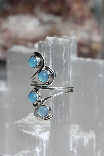 Blue Chalcedony Scroll Ring