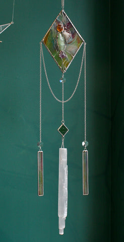 Stained Glass Crystal Selenite Sun Catcher Chandelier