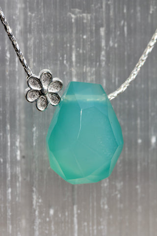 Aqua Chalcedony Nugget Floral Necklace