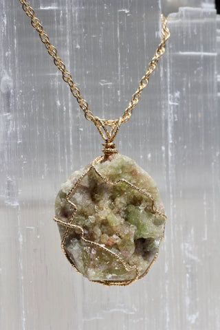 Vesuvianite Crystal Druzy Gold Wrap Pendant