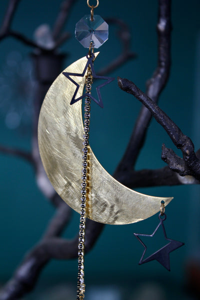 Black and Gold Celestial Crystal Sun Catcher