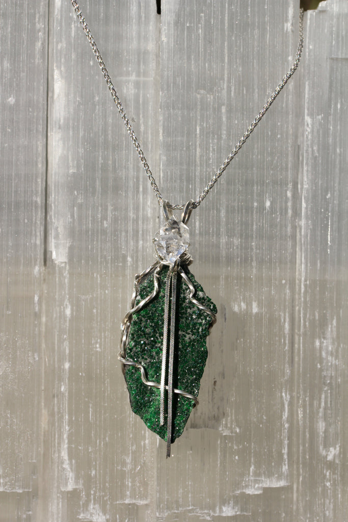 Uvarovite Druzy Pendant with Herkimer Diamond