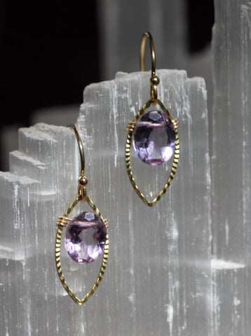 Amethyst Gold Marquis Small Drop Earrings