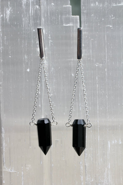 Black Onyx Crystal Point Chain Drop Earrings