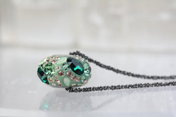 Green Pave Swarovski Crystal Bead Necklace