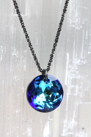 Bermuda Blue Swarovski Crystal Dime Drop Necklace