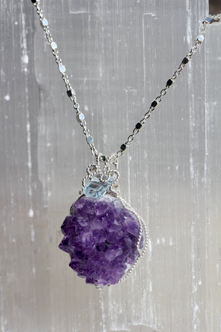 Amethyst Druzy Blue Topaz Necklace