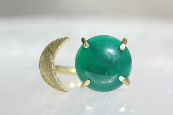Green Onyx Moon Ring