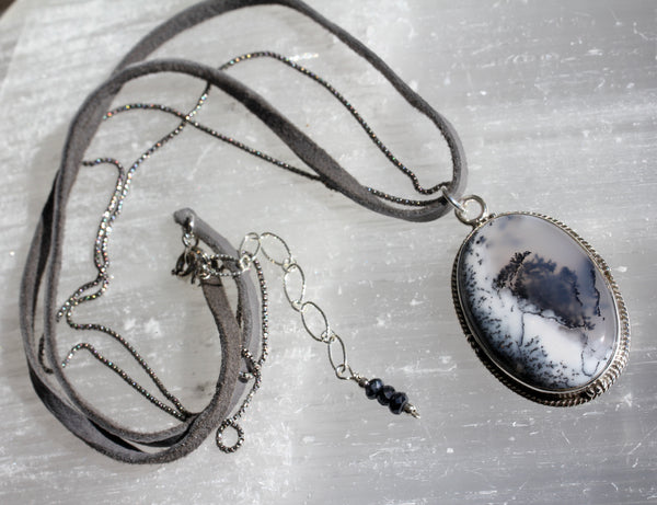 Oval Dendritic Opal Leather Necklace