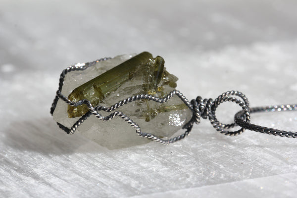 Green Tourmaline Quartz Chunk Necklace