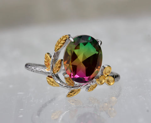 Bi Colored Quartz Delicate Flower Ring