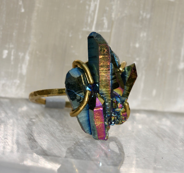 Titanium Quartz Crystal Cluster Ring