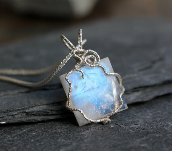 Rainbow Moonstone Wire Wrapped Pendant