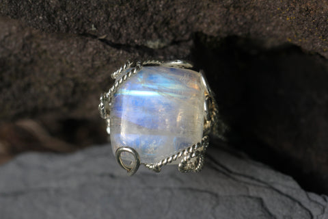 Rainbow Moonstone Wire Wrapped Ring
