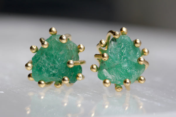 Rough Colombian Emerald Large Stud Earrings
