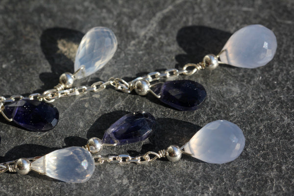 Briolette Chain Drop Earrings with Chalcedony, Iolite and Quartz