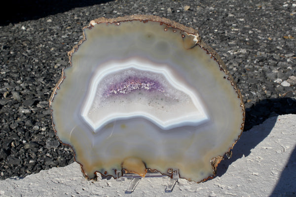 Natural Agate Slice with Purple Center