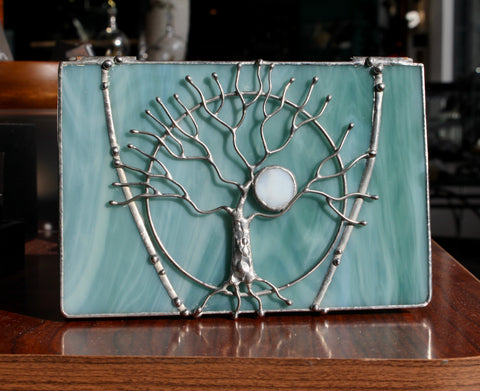 Tree of Life Cyan Stained Glass Box
