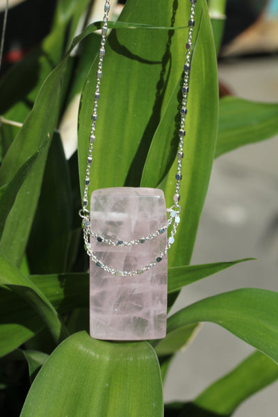 Rose Quartz Long Block Necklace