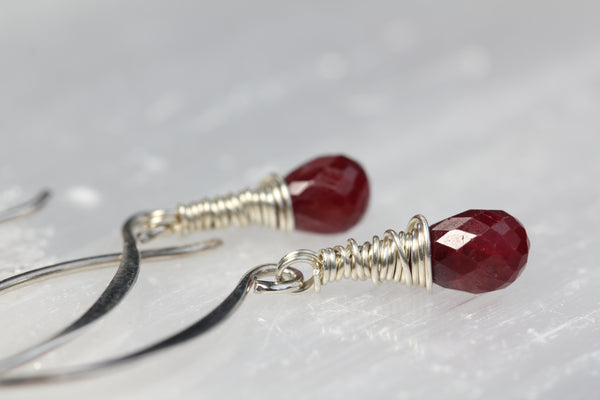 Ruby Briolette Marquis Earrings