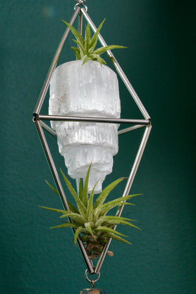 Selenite Stained Glass Sun Catcher with Air Plants