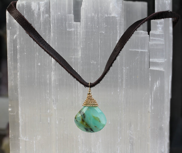 Peruvian Opal Teardrop Leather Necklace