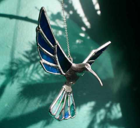 Blue Green Stained Glass Humming Bird