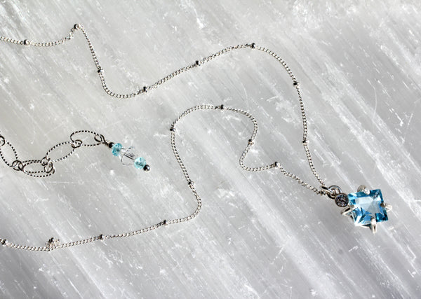 Blue Topaz Diamond Drop Necklace