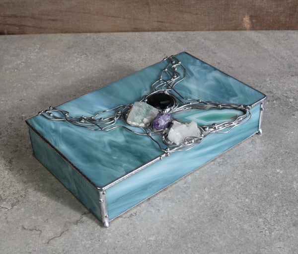 Seafoam Green Crystal Glass Box