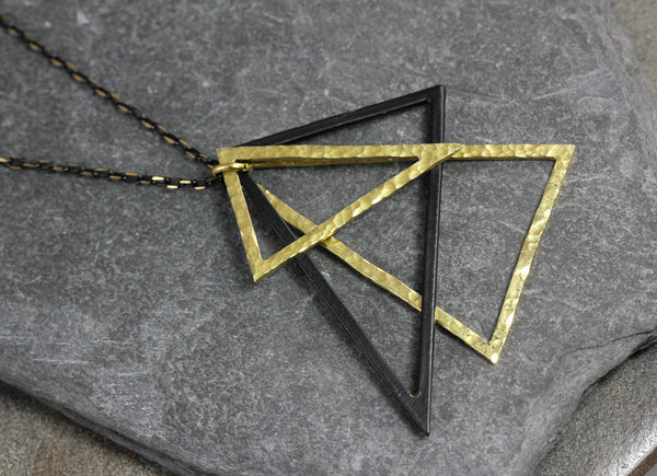Black and Gold Triangle Necklace - Annick Designs - 1