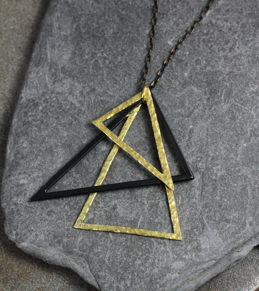 Black and Gold Triangle Necklace - Annick Designs - 4