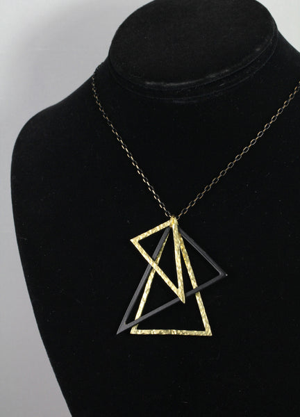 Black and Gold Triangle Necklace - Annick Designs - 5