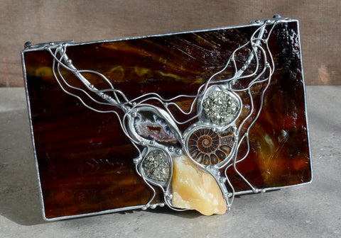 Crystal Glass Box with Pyrite, Honey Calcite and Ammonite