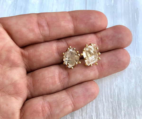 Herkimer Diamond Gold Ball Post Earrings