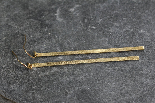 Simple Brushed Bar Drop Earrings