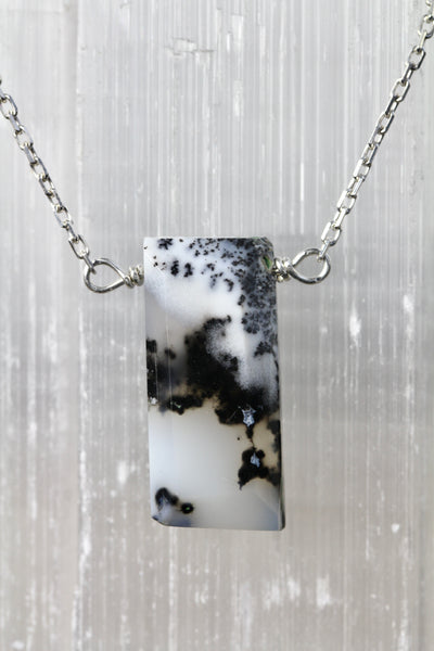 Dendritic Opal Baguette Silver Necklace