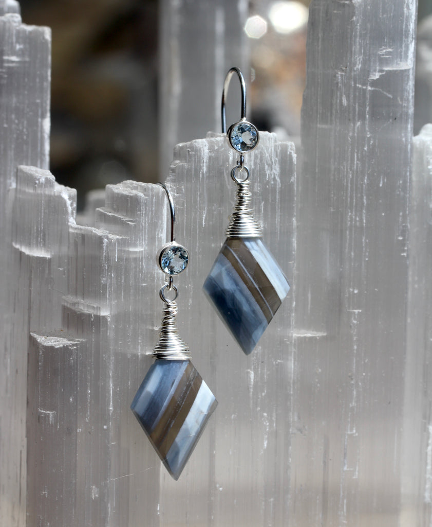 Blue Boulder Opal Diamond Drop Earrings