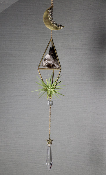 Celestial Crystal Plant Hanger with Smokey Quartz