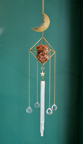 Aragonite Pyrite Moon Selenite Sun Catcher Chandelier