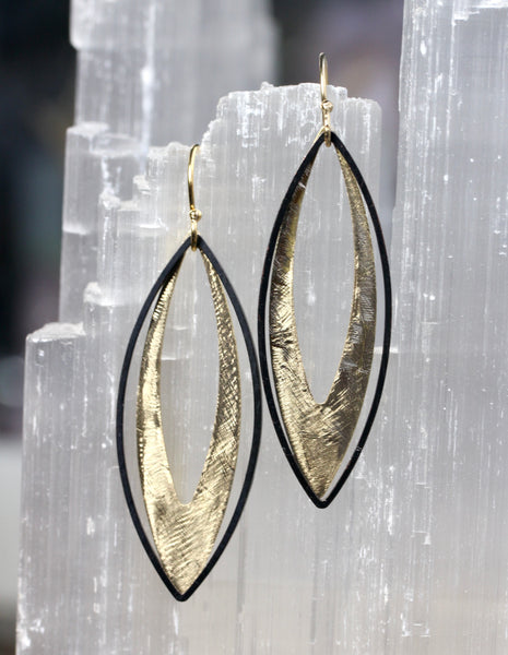 Black and Gold Brass Marquis Earrings